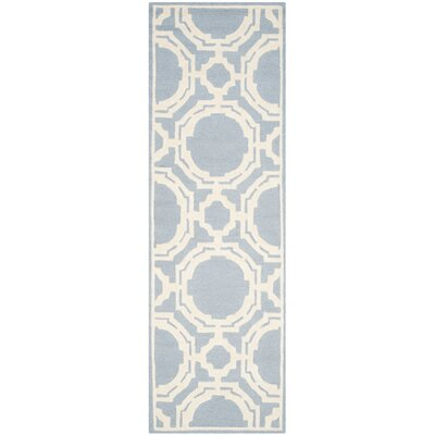Bron Hand-Tufted Blue/Ivory Area Rug Rug Size: Runner 26 x 8