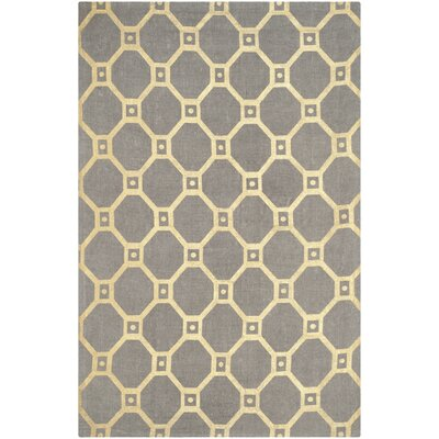 Bagneux Hand-Loomed Grey/Gold Area Rug Rug Size: 5 x 8