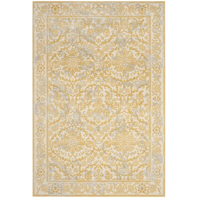 Montelimar Ivory/Gold Area Rug Rug Size: 51 x 76