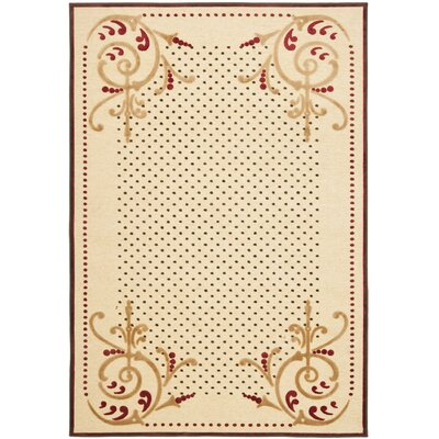 Scrollwork Hand-Loomed Creme Area Rug Rug Size: 53 x 76