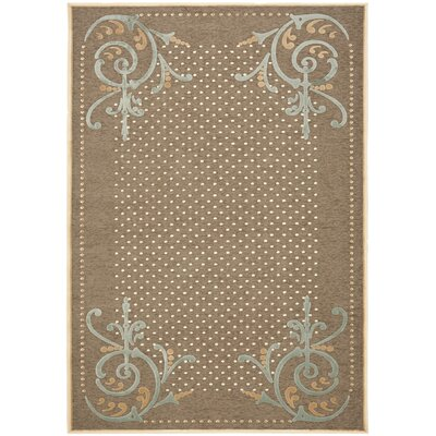 Scrollwork Hand-Loomed Brown Area Rug Rug Size: 4 x 57