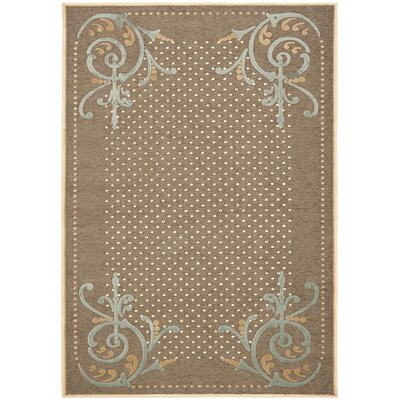 Scrollwork Hand-Loomed Brown Area Rug Rug Size: 53 x 76