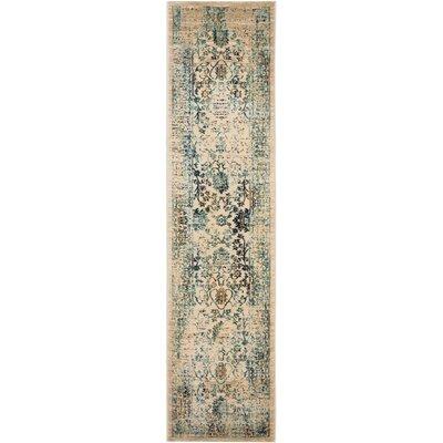 Montelimar Beige/Turquoise Area Rug Rug Size: Runner 2 x 10