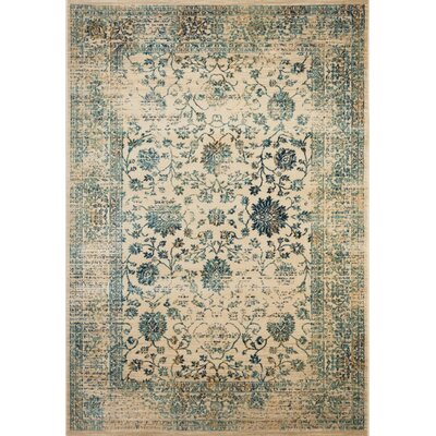 Montelimar Beige/Turquoise Area Rug Rug Size: Rectangle 4 x 6