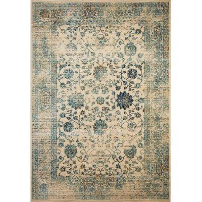 Montelimar Beige/Turquoise Area Rug Rug Size: 51 x 76