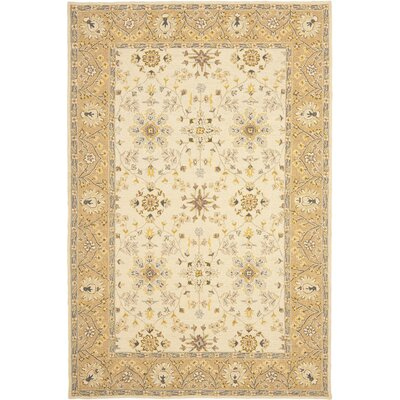 Saint-Leu Hand-Hooked Ivory/Beige Area Rug Rug Size: Rectangle 2 x 3