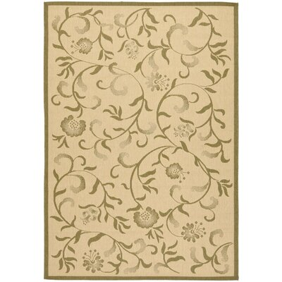 Swirling Garden Cream / Green Area Rug Rug Size: 67 x 96