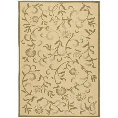 Swirling Garden Cream / Green Area Rug Rug Size: 8 x 112