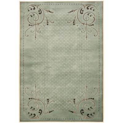 Scrollwork Hand-Loomed Blue Area Rug Rug Size: Rectangle 27 x 4