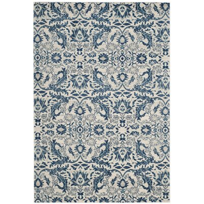 Montelimar  Ivory/Blue Area Rug Rug Size: Rectangle 67 x 9
