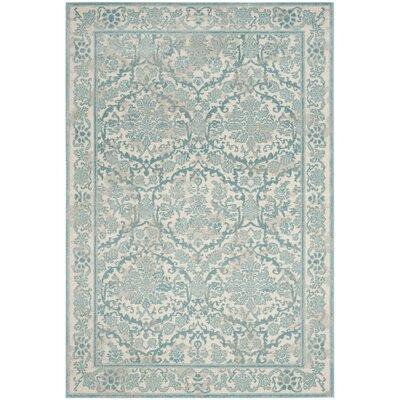 Montelimar Ivory/Light Blue Area Rug Rug Size: 51 x 76
