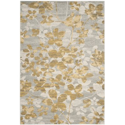 Montelimar Gray/Gold Area Rug Rug Size: Rectangle 67 x 9