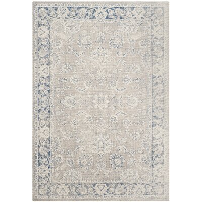 Palaiseur Taupe/Blue Area Rug Rug Size: Rectangle 4 x 6