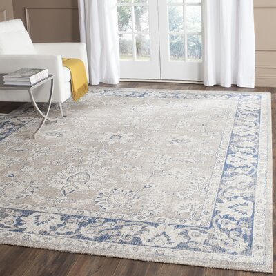 Palaiseur Taupe/Blue Area Rug Rug Size: 10 x 14