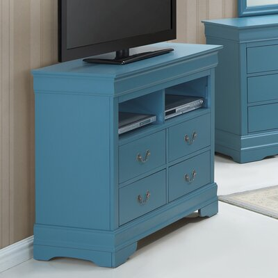 Corbeil 4 Drawer Media Chest Color: Teal