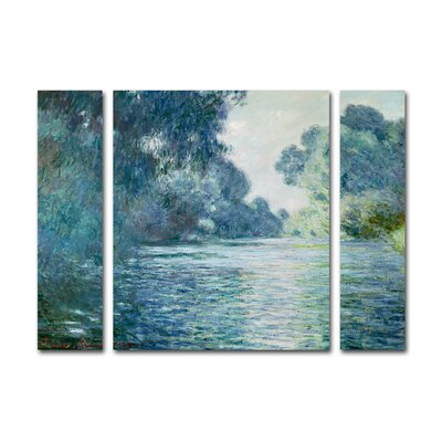 'Branch of the Seine' by Claude Monet 3 Piece Painting Print on Wrapped Canvas Set