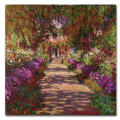 'A Pathway in Monet's Garden' by Claude Monet Reproduction Print on Canvas