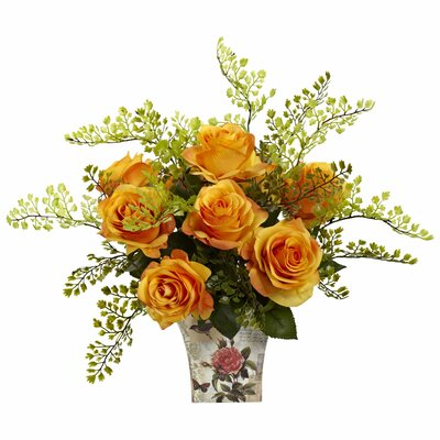 Rose and Maiden Hair in Floral Planter Color: Orange