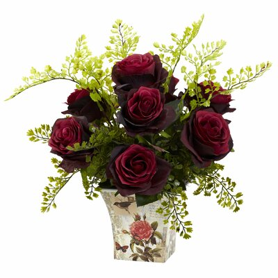 Rose and Maiden Hair in Floral Planter Color: Burgundy