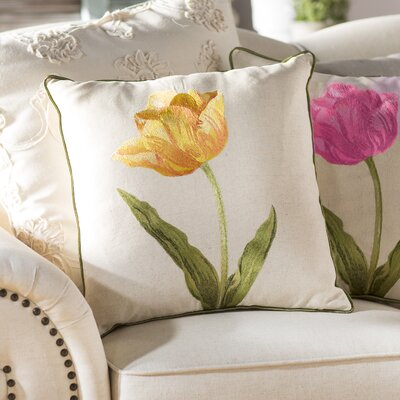 100% Cotton Throw Pillow Color: Gold