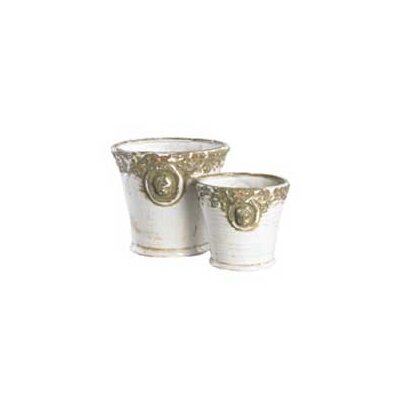 2 Piece Crackle Ceramic Pot Set