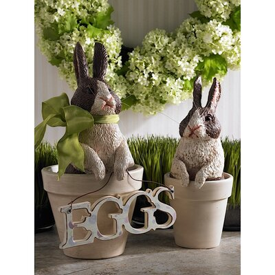 2 Piece Large Bunny in Pot Statue Set