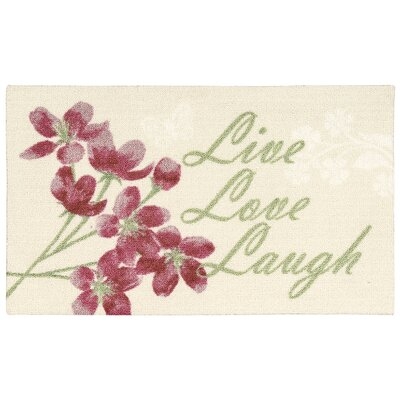 Nathael Beige Live, Laugh, Love Area Rug Rug Size: 18 x 28