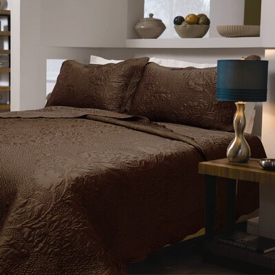 Corbeil Floral Quilt Size: King, Color: Coffee