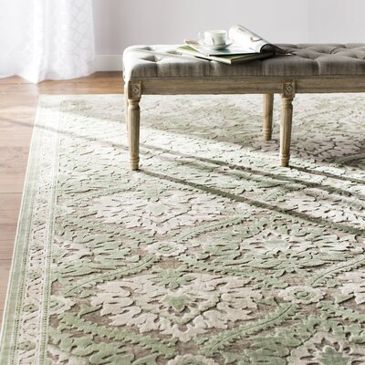 Rousseau  Green/Gray Area Rug Rug Size: Rectangle 53 x 76