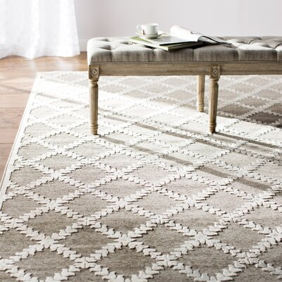 Prioleau Grey Area Rug Rug Size: Rectangle 53 x 76