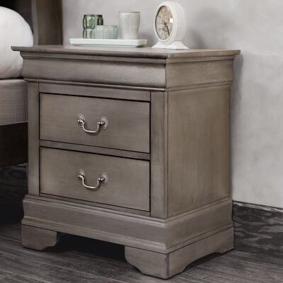 Mayssa 2 Drawer Nightstand Color: Gray
