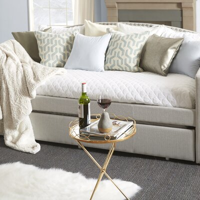 Ronce Daybed With Trundle Type: Trundle Included, Upholstery: Linen Beige