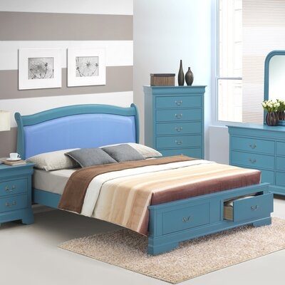 Corbeil Upholstered Platform Bed Color: Blue, Size: Queen