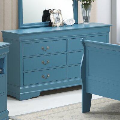 Corbeil 6 Drawer Double Dresser Color: Teal