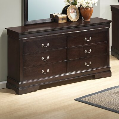 Corbeil 6 Drawer Double Dresser Color: Cappuccino