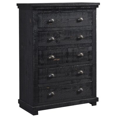 Castagnier 5 Drawer Chest Color: Distressed Black