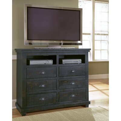 Castagnier 6 Drawer Media Chest Color: Distressed Black