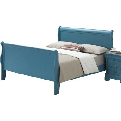 Corbeil Sleigh Bed Size: King, Finish: Teal