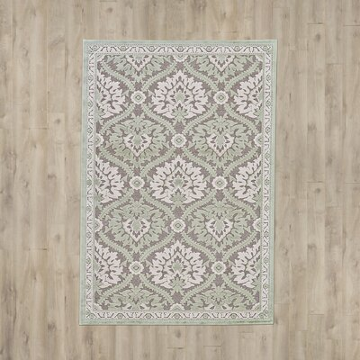Rousseau  Green/Gray Area Rug Rug Size: 53 x 76