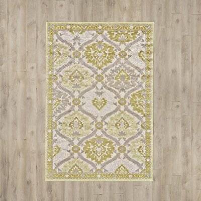 Rousseau Gray/Citrine Area Rug Rug Size: Rectangle 76 x 106