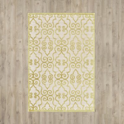 Robicheaux Cream Gold Area Rug Rug Size: Rectangle 76 x 106