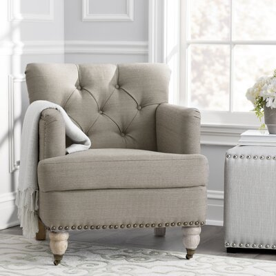 Minerve Arm Chair Upholstery: Taupe/White Wash