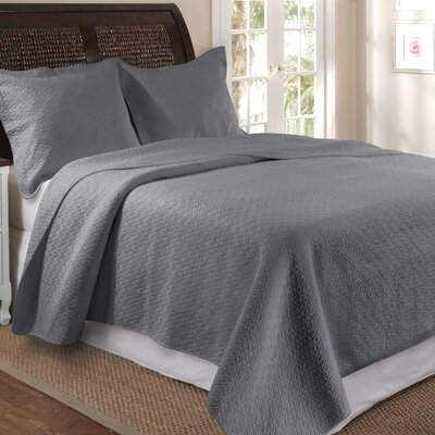 Antoine Cotton Reversible Quilt Set Size: Twin, Color: Gray