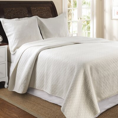 Antoine Cotton Reversible Quilt Set Size: King, Color: Ivory