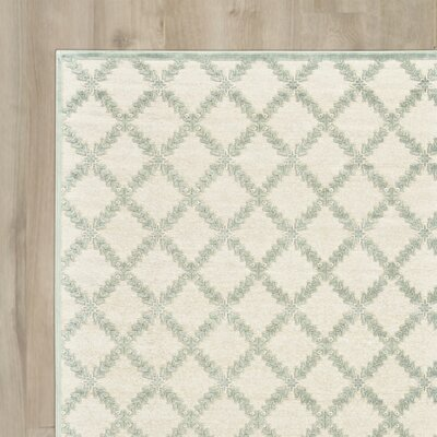 Prioleau Cream/Mint Area Rug Rug Size: Runner 26 x 8