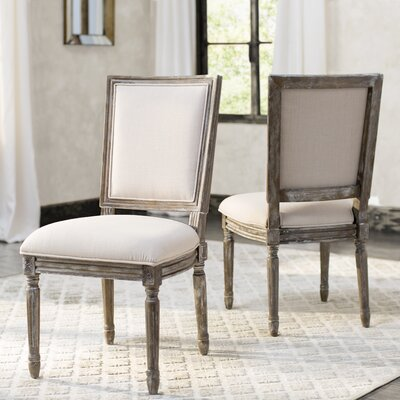 Guillemette Upholstered Dining Chair Finish: Beige / Rustic Oak