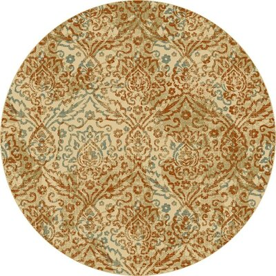 Giroflee Orange/Sand Gray Area Rug Rug Size: Round 77