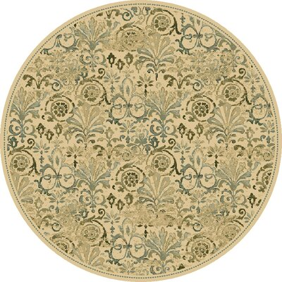 Giroflee Ivory/Taupe/Sage Area Rug Rug Size: Round 77