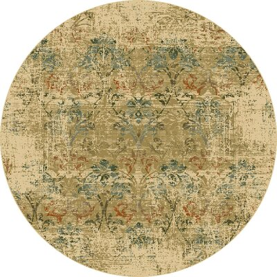 Aminata Champagne/Green Area Rug Rug Size: Round 77