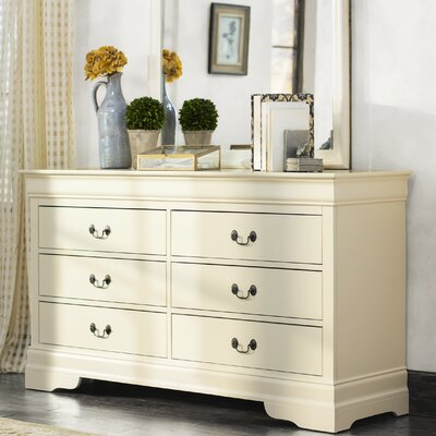 Corbeil 6 Drawer Double Dresser Color: Beige